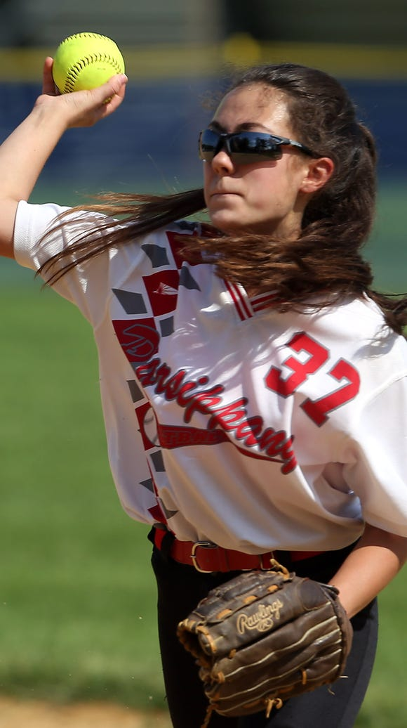 Parsippany second baseman Paige Kaiser throws out a