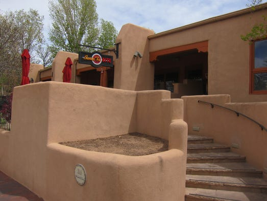 Santa Fe Bite fits into the architectural style of downtown Santa Fe.