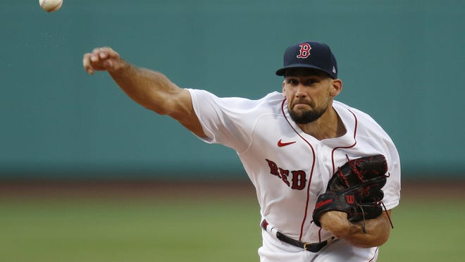 Nathan Eovaldi fires to the plate in the first inning Friday night.