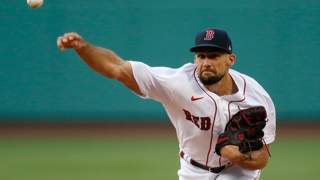 Red Sox right-hander Nathan Eovaldi unleashed a 100 mph heater to start the season Friday night.