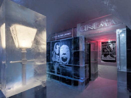 "Icehotel Jukkasjarvi is in Swedish Lapland, 125 miles above the Arctic Circle. Now in its 24th season, it offers a variety of icy accommodations from December to mid-April. Shown here is the ""A Face in the Crowd"" suite, created by artists Mikael ""Nille"" Nilsson and Ingemar Almeros."