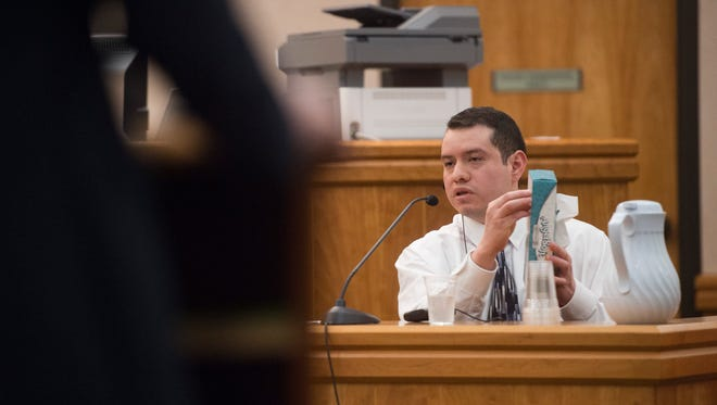Tolentino Corzo-Avendano gives a testimony to the court during his trial at the Larimer County Justice Center on Monday, August 7, 2017. Corzo-Avendano is accused of stabbing Kathy and Sara Mondragon in February of 2016. Kathy died from her injuries.