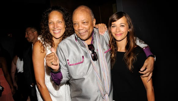 Quincy Jones with his daughters, Martina Jones, left,