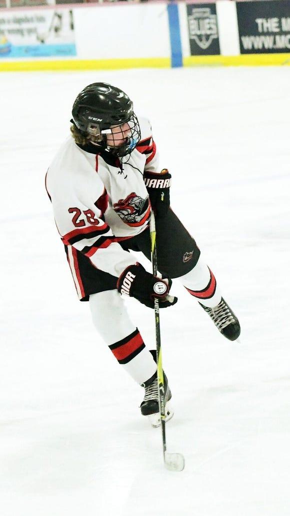 Drew Lorenz leads the Lakeland hockey team in goals scored (15) through games of Feb. 6, 2018.