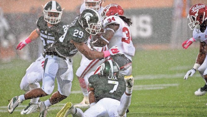 MSU safety Mark Meyers (29) returned from suspension and bolstered MSU's secondary Saturday against Indiana.