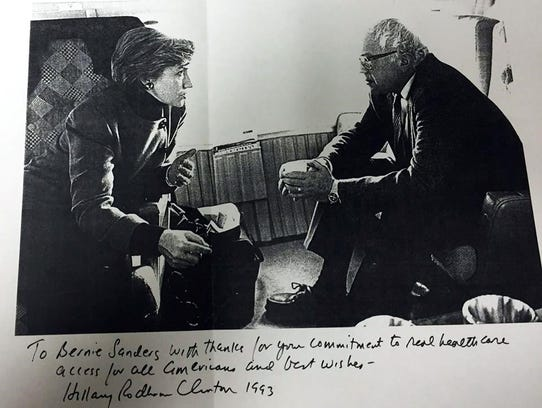 This photo dated 1993 with a message from Hillary Clinton