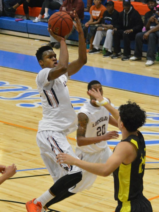 ANI LC vs. Concordia Louisiana College's Anthony Gaines Jr. (35, left) goes for two against Concordia Jared Galvan (24, right) Thursday, Jan. 29, 2015.-Melinda Martinez/mmartinez@thetowntalk.com The Town Talk Gannett