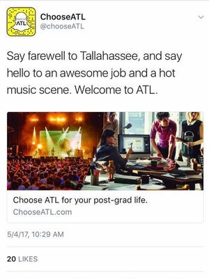 A ChooseATL promoted tweet attempting to attract job talent from Tallahassee.