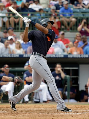 The Detroit Tigers' Steven Moya hits a home run against the Houston Astros on Friday, March 11, 2016, in Kissimmee, Fla.