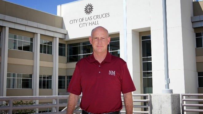 Las Cruces City Manager Stuart Ed sports his NMSU Aggie colors. City employees will be able to take the day off to see the Aggies play in the Arizona Bowl.
