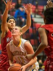 Northern Lebanon's Megan Brandt eyes up the basket
