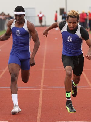 Sayreville's Linwood Crump (left) and Colin Winslow (right) took second and first place, respectively, in the Group IV Boys 100-meter race at the NJSIAA Central Jersey Groups I and IV championships.