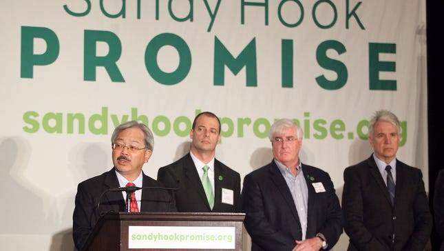 San Francisco Mayor Ed Lee, far left, speaks as, from left, Lee Shull, co-founder Sandy Hook Promise, Ron Conway special advisor to SV Angel, and San Francisco District Attorney George Gascón look on at a news conference to launch the Sandy Hook Promise Innovation Initiative held in honor of the three month anniversary of the tragic shooting at Sandy Hook Elementary School at the Bill Graham Civic Auditorium in San Francisco, Calif., on Thursday, March 14, 2013. The initiative is an effort by Sandy Hook Promise to combat gun violence through innovations in gun safety, mental health research, and related new technologies. Sandy Hook Promise is a national grassroots organization formed by those in Newtown, Conn. affected by the shooting at Sandy Hook Elementary that killed 20 first graders and six educators.