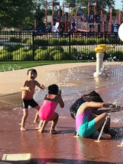 Wait for it... Westland kids brace themselves for a major dousing at the H2O Zone.