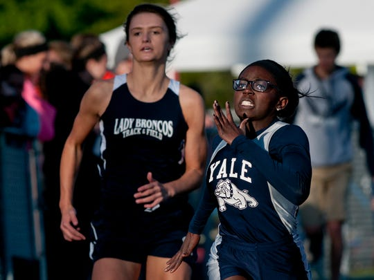 Yale senior Armonni Hicks competes in the 100-meter dash during the Meet of Champions Friday, May 22, 2015 at Marysville High School.