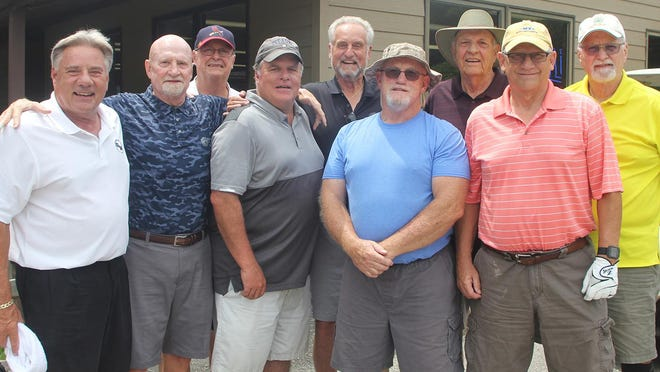 A group of former Monmouth High School coaches and administrators was on hand Saturday for an outing in memory of former MHS golf coach Bill Pieper. Pictured from left are Greg Dillard, Dan Hogan, Gary Collins, Doug Smith, Mike Mueller, Lonne Cargill, Jim Carlson, Don Daily and Terry Miller.