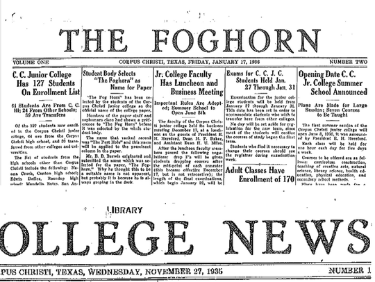 The Foghorn's first issue, then dubbed College News,ran