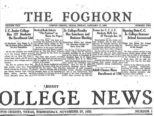 The Foghorn's first issue, then dubbed College News, ran on November 27, 1935.