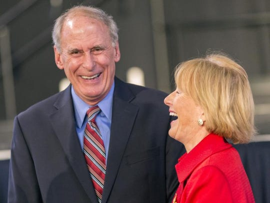 Sen. Dan Coats shares a laugh with his wife, Marsha, during a Republican event on Election Night in 2012.