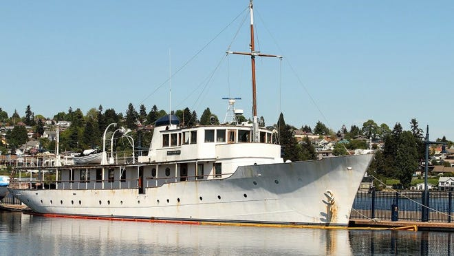 The Northwind at the Bremerton Marina in 2016. The vessel, which has since been repaired and has been given a new paint job, is homeless in Dyes Inlet.