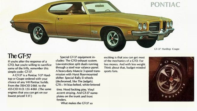 This advertisement for the 1971 Pontiac GT-37 muscle car explains everything while not mentioning lower insurance rates. Customers could order any Pontiac V8 in the Pontiac T-37 series all the way up to a complete muscle car GTO drivetrain.