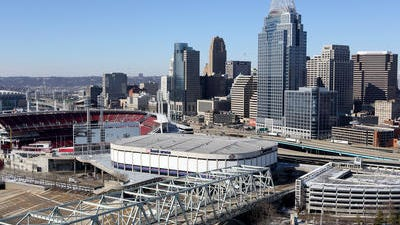U.S. Bank Arena, center, cost Cincinnati the 2016 Republican National Convention.