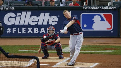 Todd Frazier, of the Cincinnati Reds, hits during the MLB All-Star baseball Home Run Derby, Monday, July 14, 2014, in Minneapolis.