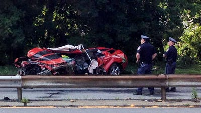 Authorities investigate the fatal crash  on the the Saw Mill River Parkway after a man drove a Chevrolet Camaro off the Ashford Avenue Bridge in Dobbs Ferry.