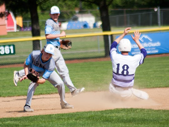 Lakeview's Nate Jones slides into second base while