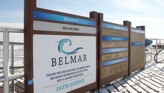Board Donor signage on the 16th Ave entrance to the Belmar Beach.  The sign with donor's names is a fundraiser to restore the damaged shore.