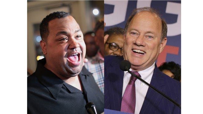 Detroit Mayoral candidates Coleman Young II  and Mike Duggan during the primary election night in Detroit in August 2017.