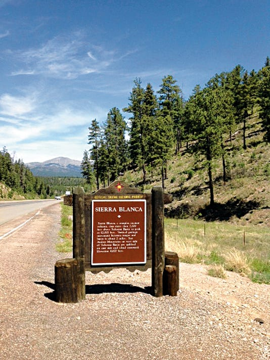 A roadside marker in Otero County gives historical information about Sierra Blanca which translates to White Mountain. It is a sacred mountain to the Mescalero Apache and home to one of New Mexico's finest ski areas, Ski Apache.