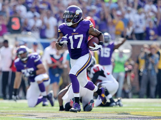 Minnesota Vikings wide receiver Jarius Wright (17) is shown in a game in September 2014 in  Minneapolis. He says he wants more playing time this year.
