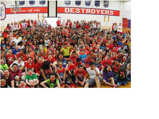 Students and staff in their red noses