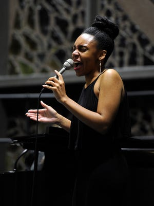 """Tess Varlack sings """"I'm Here"""" from """"The Color Purple"""" during a concert at Hardin-Simmons University celebrating African-American composers on Thursday, Feb. 23, 2017, in the school's Logsdon Chapel."""