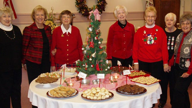 Covenant United Methodist Church members prepare tables for the Sugarplum Cookie Walk held next Sunday, Dec. 14 in the fellowship hall. Helpers from left include: Carol Sadler, Diane Roets, Virginia Wagener, Sandy Kilmer, Marilyn Stillings, Nina Krueger and Eleanor King. See listing on this page.