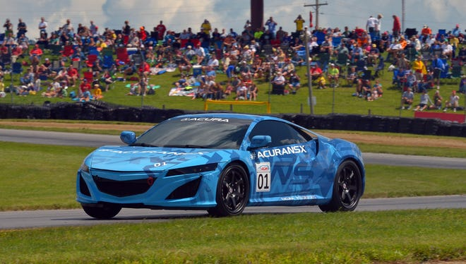 The Acura NSX prototype makes its public running debut at Mid-Ohio Sports Car Course in Lexington, Ohio.