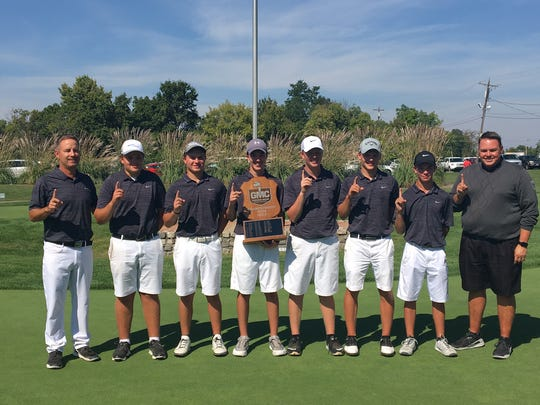 The No. 1 Lakota East golf team includes, from left: coach Jeff Combs, Peyton Houston, Will Schmidt, Kyle Schmidt, Drew Mahon, Ben Irvin, Alex Dunaway and assistant coach Joe Wilson.