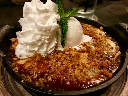 Banana rum cobbler at The Saloon at Coconut Point in