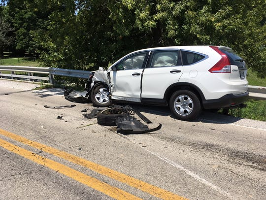 The driver of this 2014 Honda CRV was headed west on