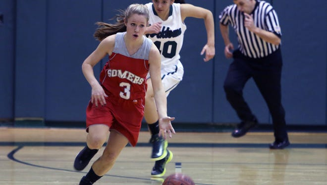 Somers defeated Yorktown 49-43 in a girls basketball game at Yorkktown High School Jan. 17, 2015.