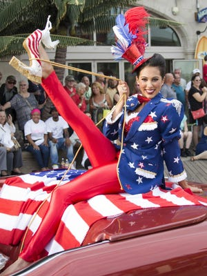 """Miss Connecticut Alyssa Taglia displays her patriotism during the """"Show Us Your Shoes"""" parade."""
