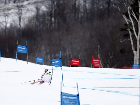 Mikaela Shiffrin of USA competes during the Audi FIS Alpine Ski World Cup Women's Giant Slalom on November 26, 2016, in Killington, Vermont.
