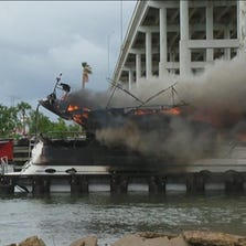 A 45-foot yacht went up in flames underneath the bridge at Highway 146 and Seabrook.