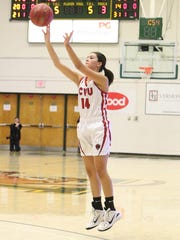 Amanda Daniels shoots a 3-pointer during the Redhawks'