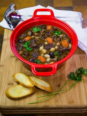Chef and food writer Robin Miller shows how some impossible classic dishes are not so impossible after all, Thursday, April 26, 2018. This is the beef bourguignon.
