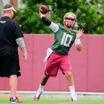 Sean Maguire (10) sets up for a pass during practice, on Tues., Aug. 09, at the Florida State Football Practice Field at FSU in Tallahassee, FL.