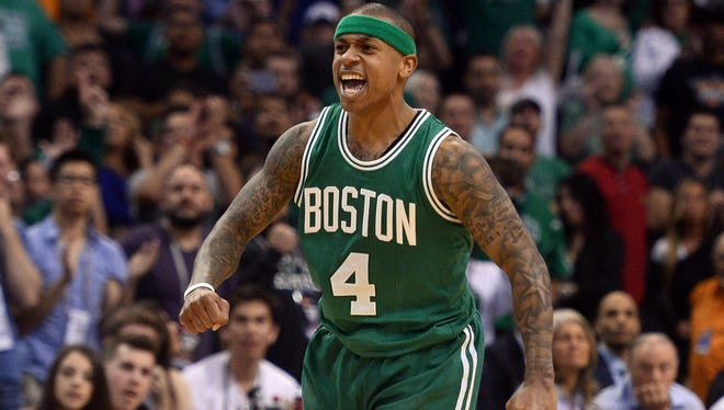 Isaiah Thomas celebrates during a game against the Phoenix Suns.