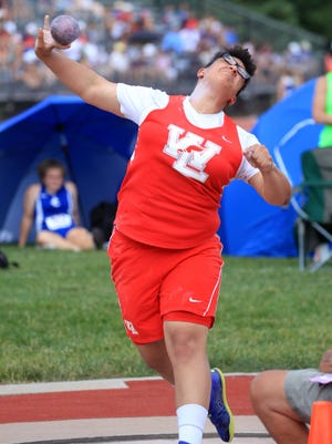 Ashley Weatherly of West Lafayette took third in the shot put with a toss of 43-05.00.