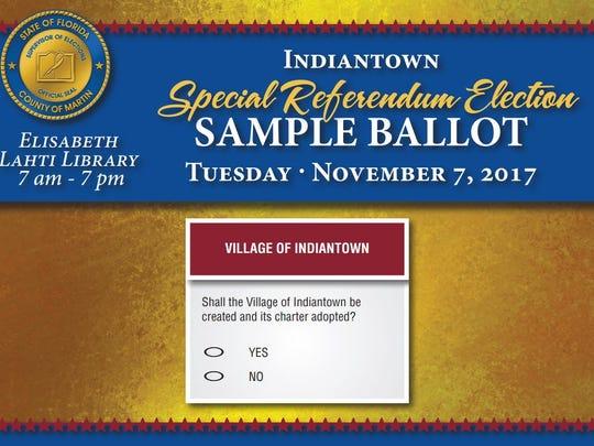 A sample ballot for Indiantown's Nov. 7 special election.